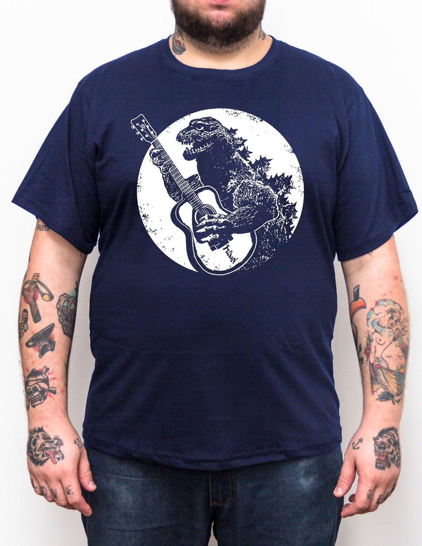 Camiseta Godzilla Violão - Tamanho Grande Xg  - HShop