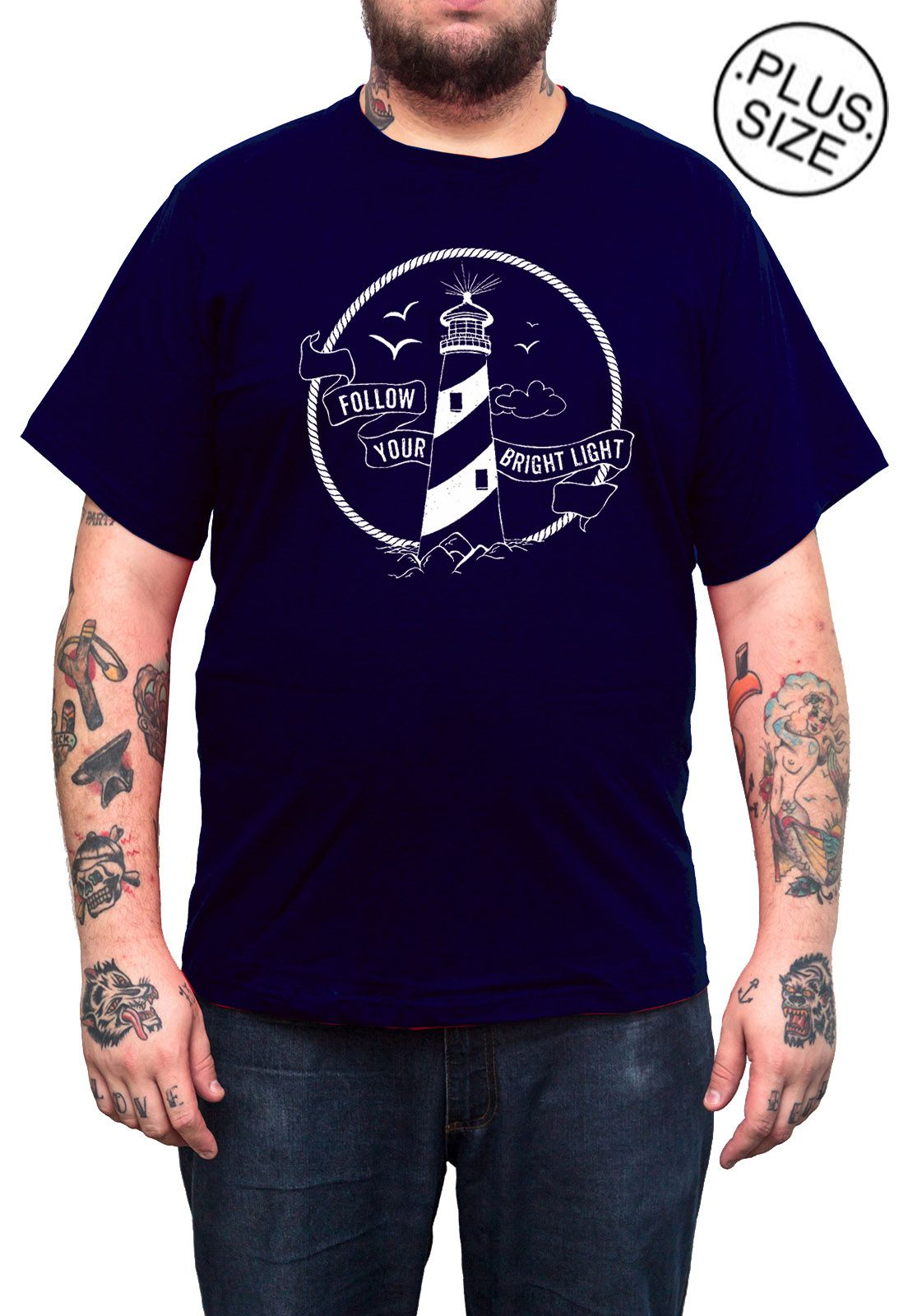 Camiseta Holdfast Follow Your Light - Azul Marinho - Plus Size - Tamanho Grande XG  - HShop