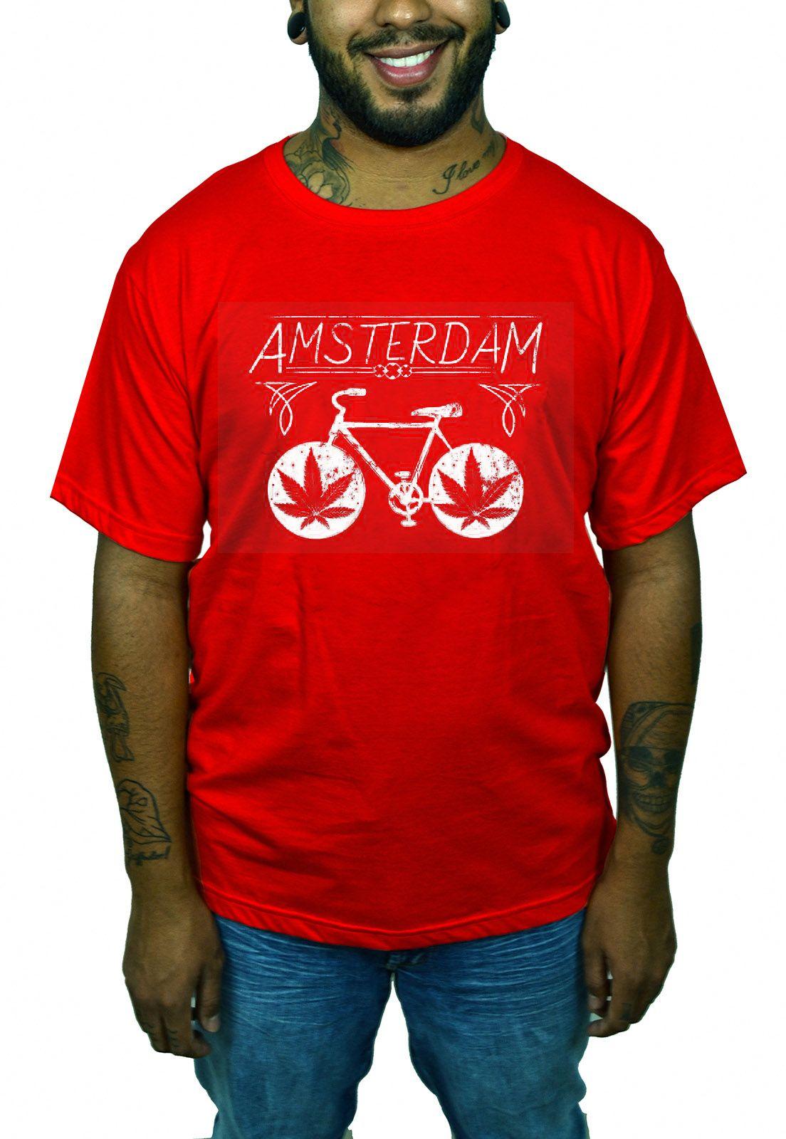 Camiseta HShop Amsterdam Bike Vermelho  - HShop