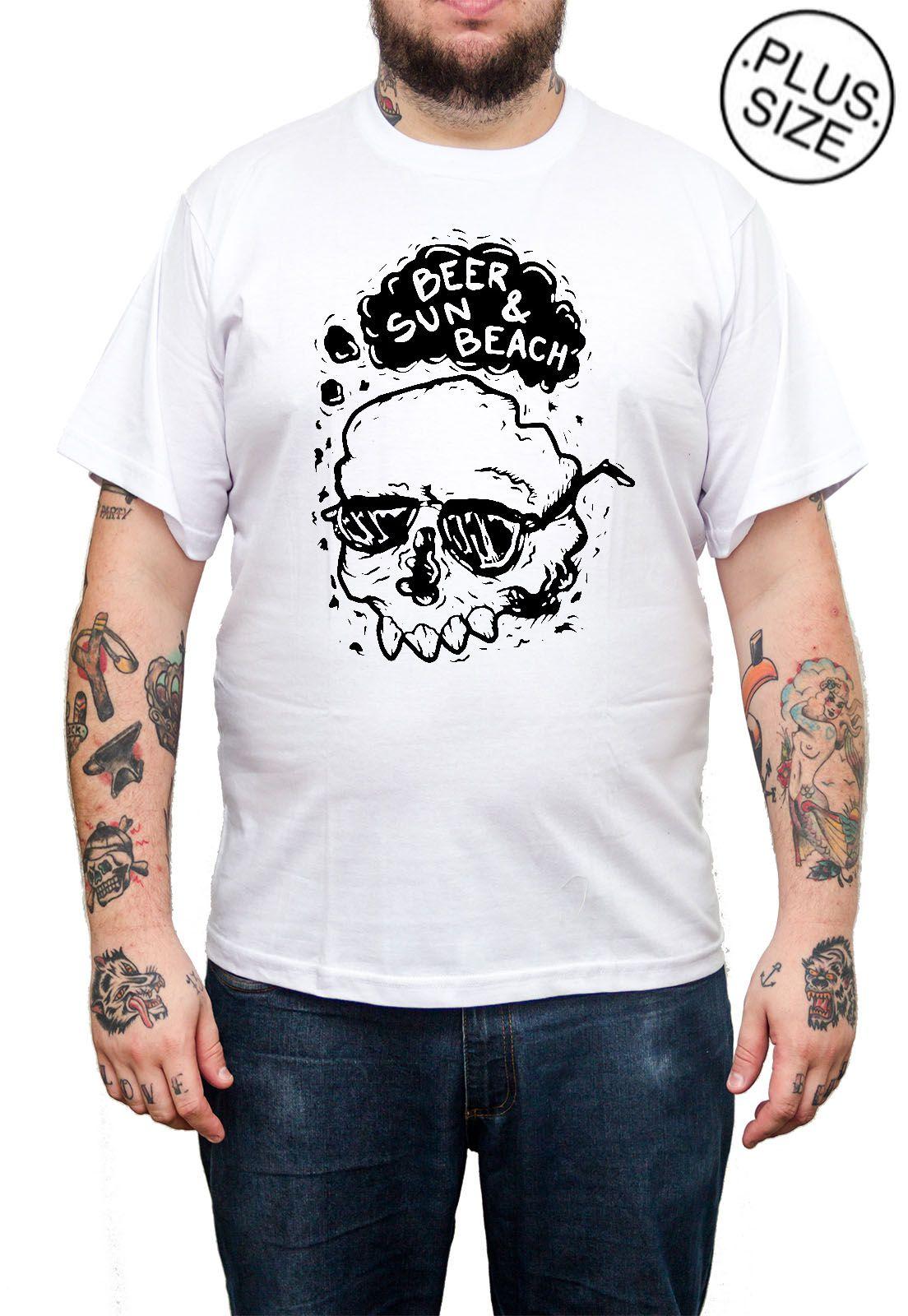 Camiseta Hshop Beer Sun - Branco - Plus Size - Tamanho Grande XG  - HShop