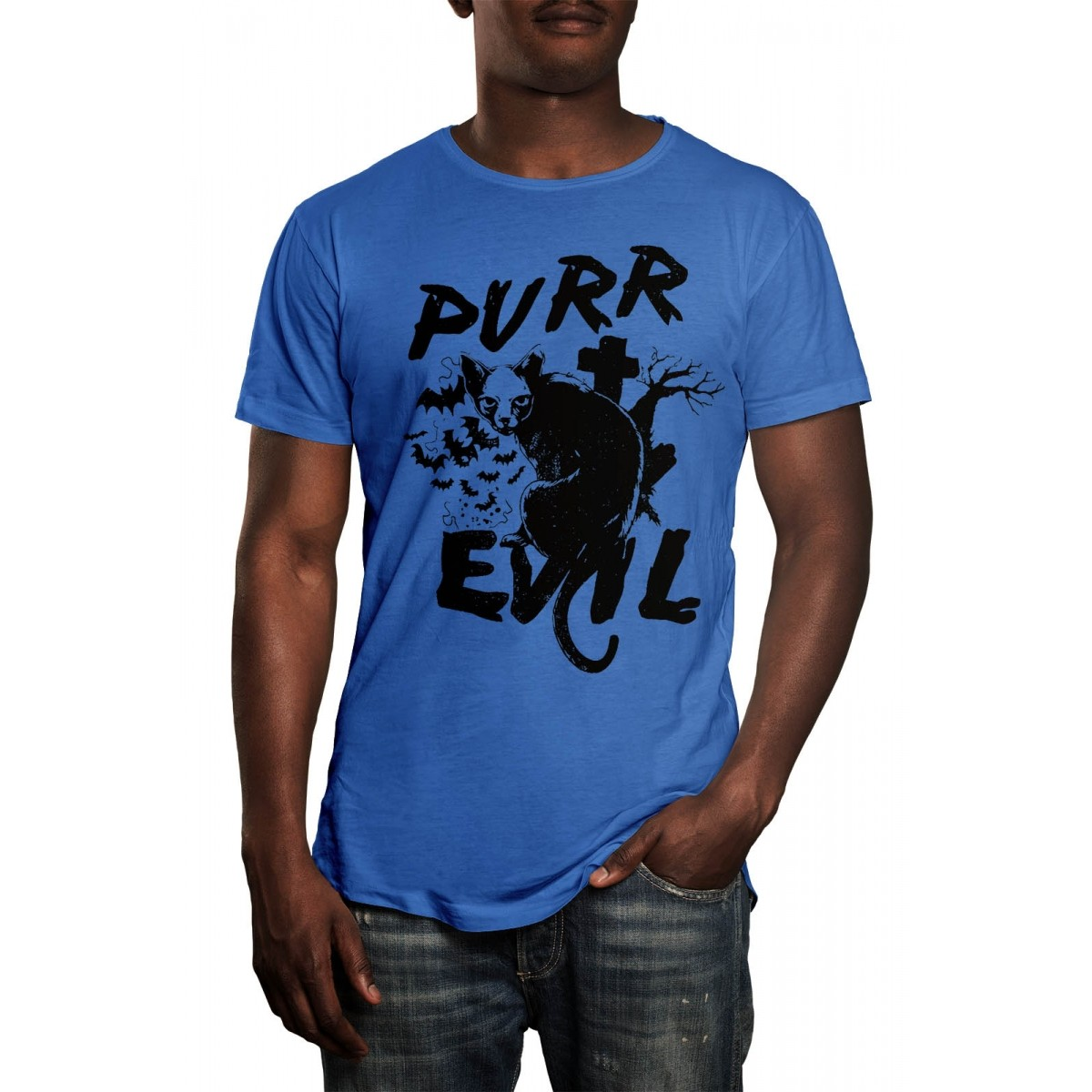 Camiseta HShop Cat Evil Azul  - HShop