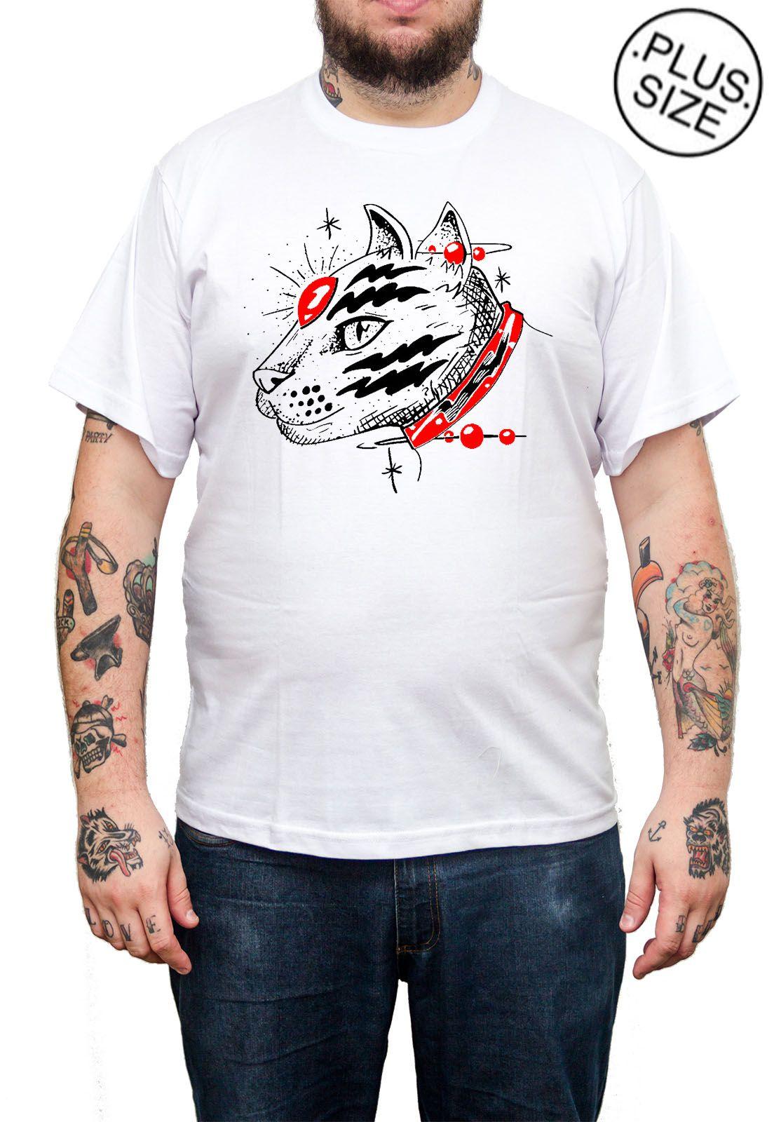 Camiseta Hshop Catz - Branco - Plus Size - Tamanho Grande XG  - HShop