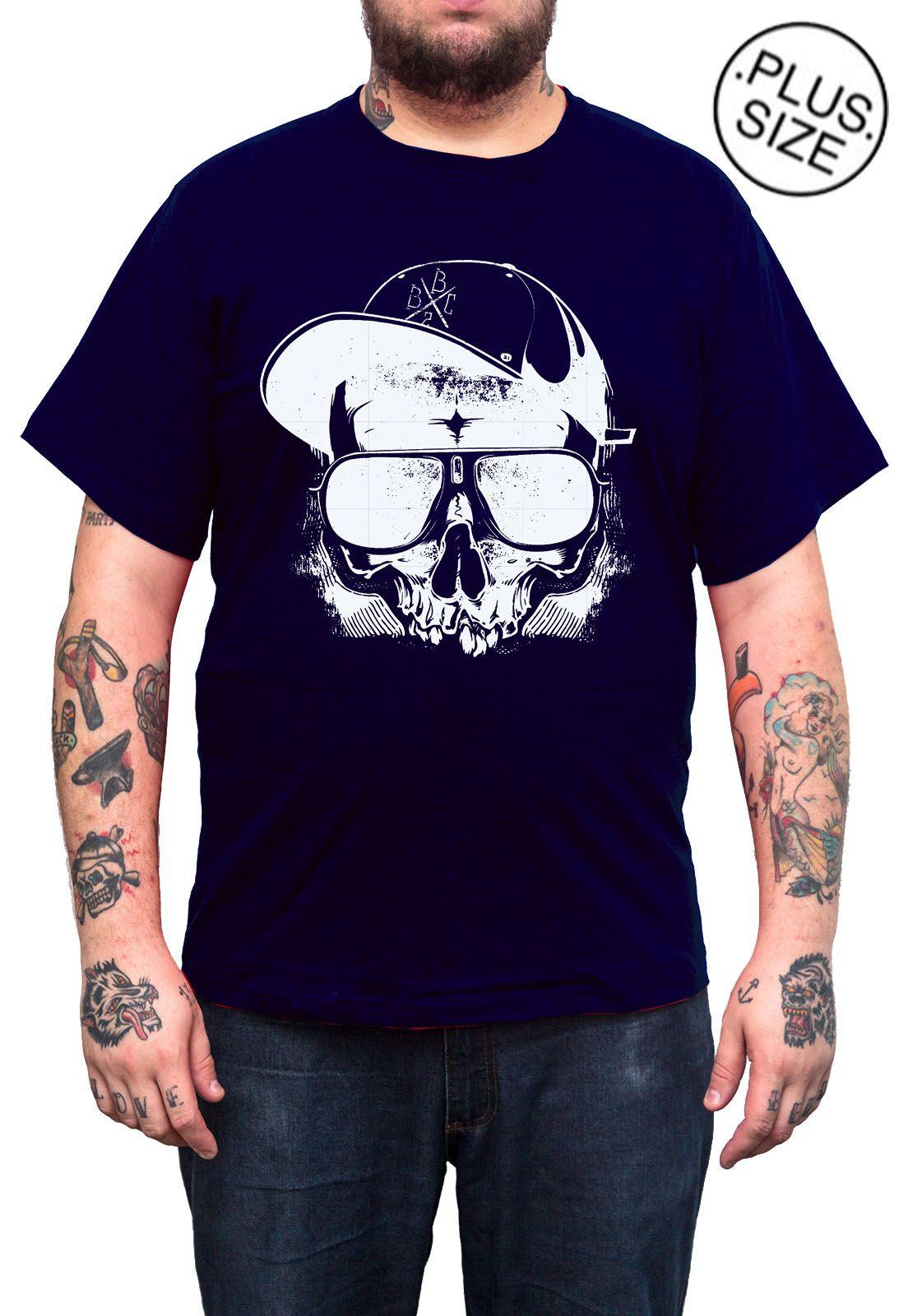 Camiseta Hshop Caveira Boné - Azul Marinho - Plus Size - Tamanho Grande XG  - HShop