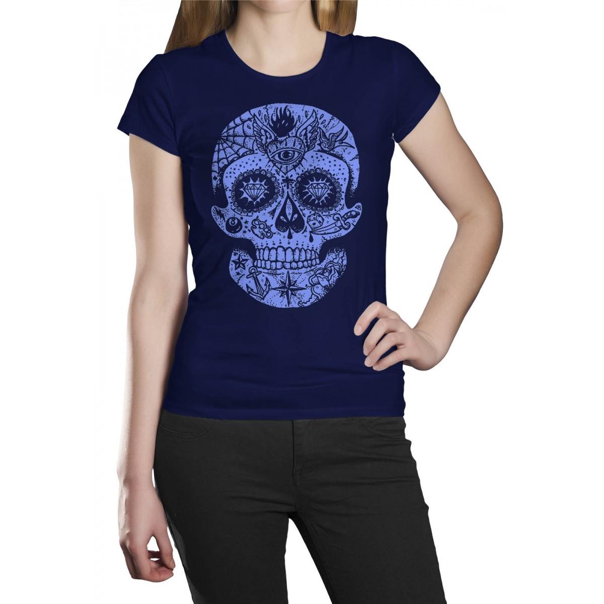 Camiseta Caveira Mexicana Azul  - HShop