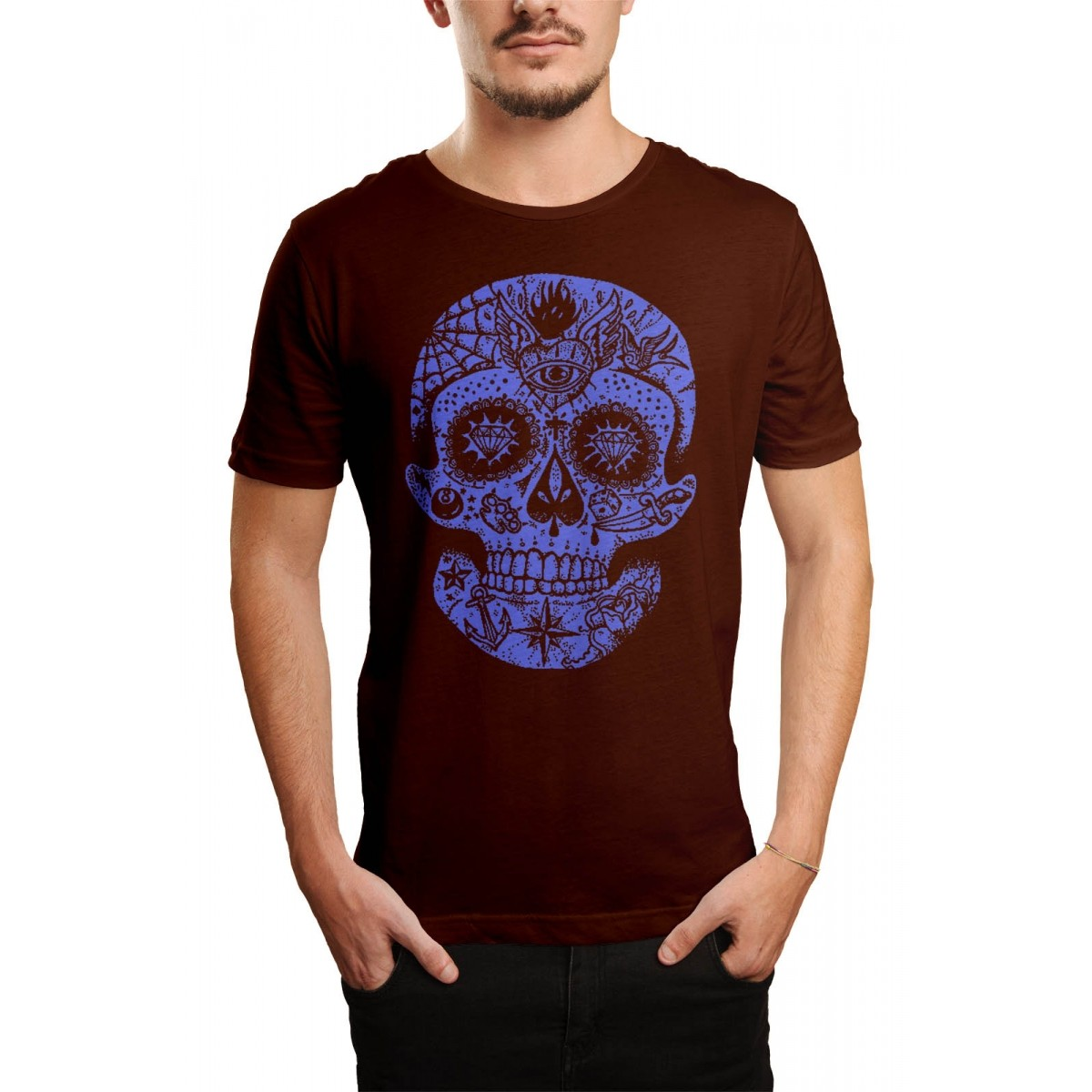 Camiseta HShop Caveira Mexicana Marrom  - HShop