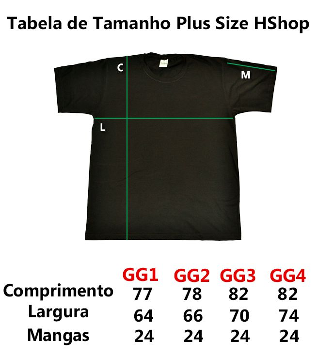 Camiseta Hshop Costelinha - Preta - Plus Size - Tamanho Grande XG  - HShop