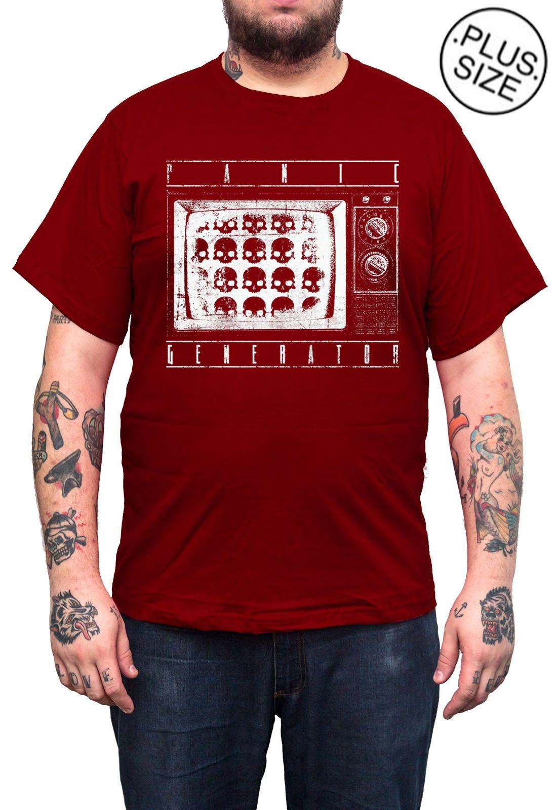 Camiseta Hshop Death By TV - Vinho - Plus Size - Tamanho Grande XG  - HShop