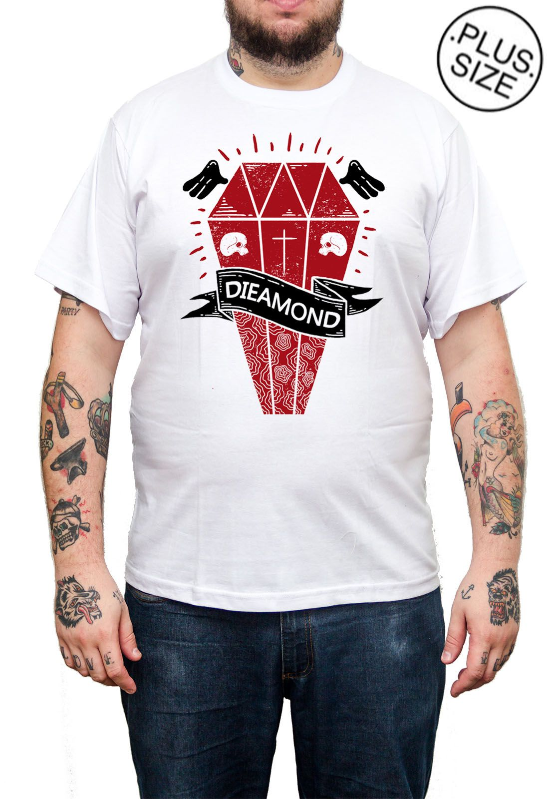 Camiseta Hshop Dieamond - Branco - Plus Size - Tamanho Grande XG  - HShop