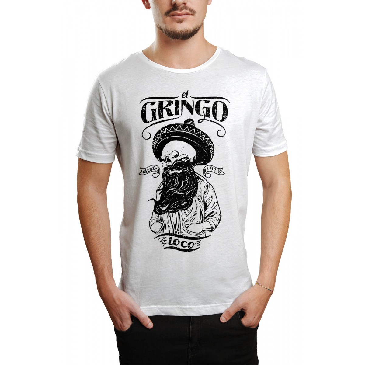 Camiseta HShop El Gringo Branco Branco  - HShop