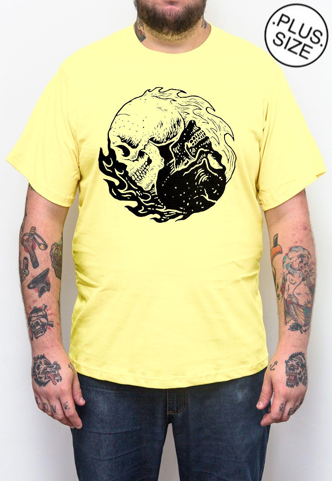 Camiseta Hshop Equilibrium - Amarelo Bebê - Plus Size - Tamanho Grande XG  - HShop
