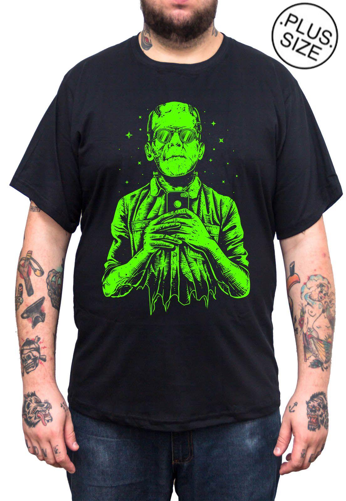 Camiseta Hshop Frankselfie - Preto - Plus Size - Tamanho Grande XG  - HShop