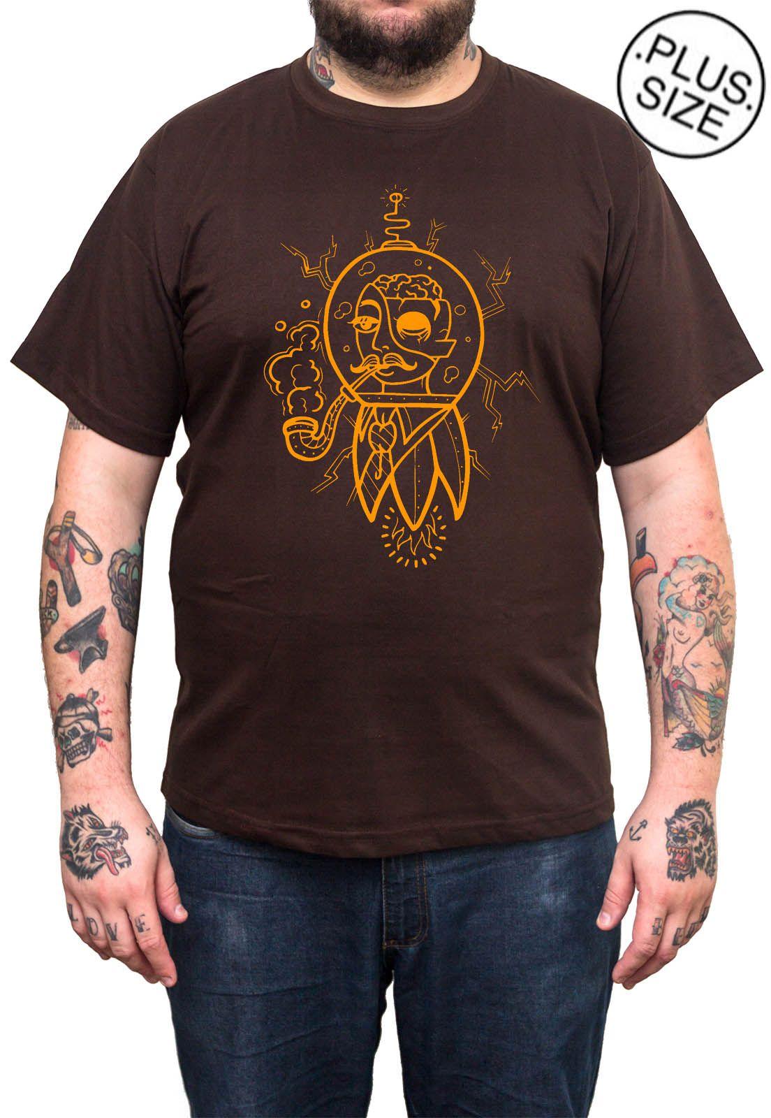 Camiseta Hshop Future Man - Marrom - Plus Size - Tamanho Grande XG  - HShop