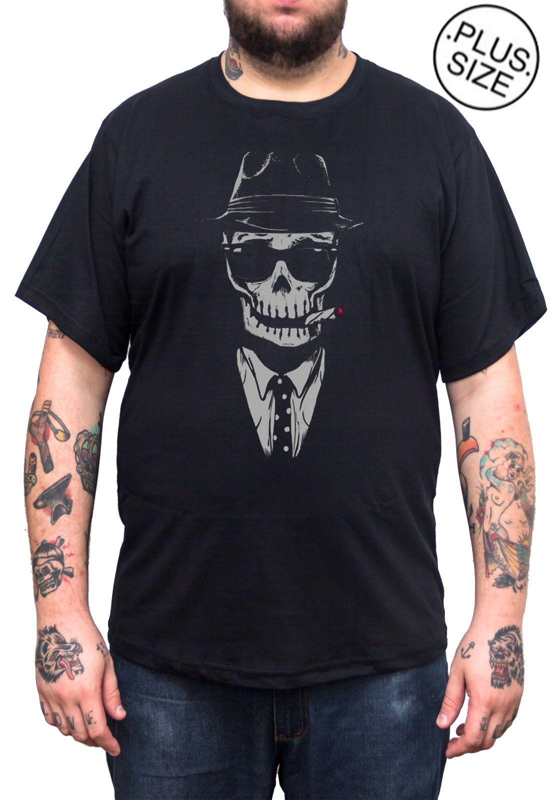 Camiseta Hshop Gangsta - Preto - Plus Size - Tamanho Grande XG  - HShop