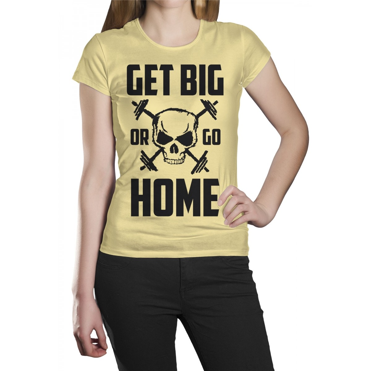 Camiseta HShop Get Big Or Go Home Amarela  - HShop