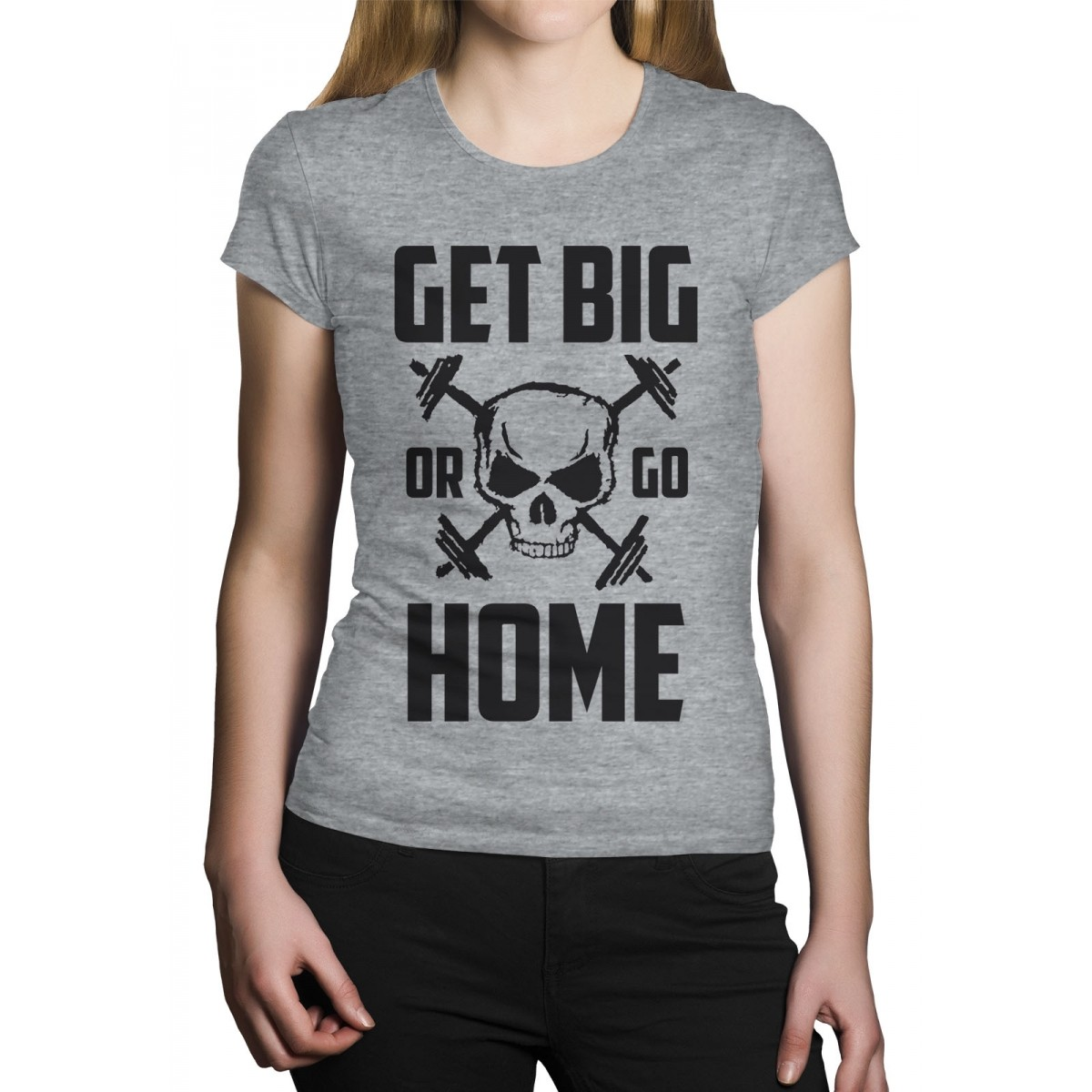 Camiseta HShop Get Big Or Go Home Cinza  - HShop
