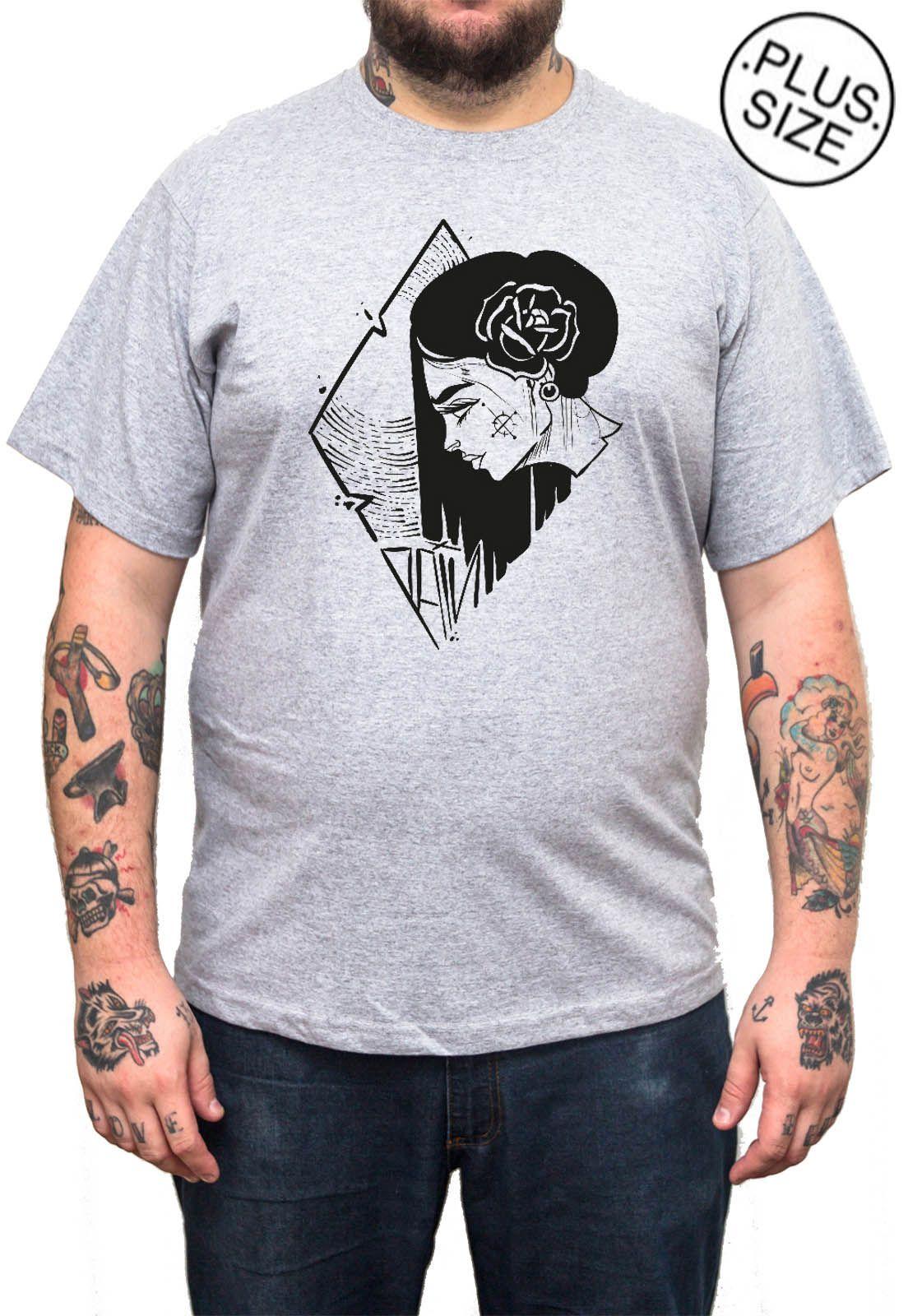 Camiseta Hshop Girlz - Cinza Mescla - Plus Size - Tamanho Grande XG  - HShop