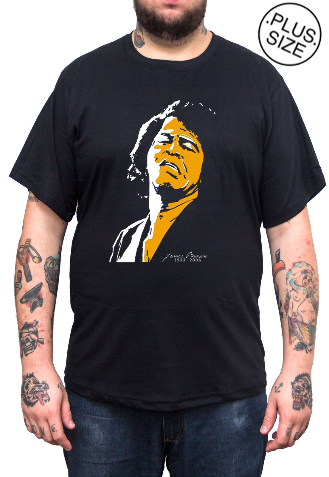 Camiseta Hshop James Brown - Preto - Plus Size - Tamanho Grande XG  - HShop