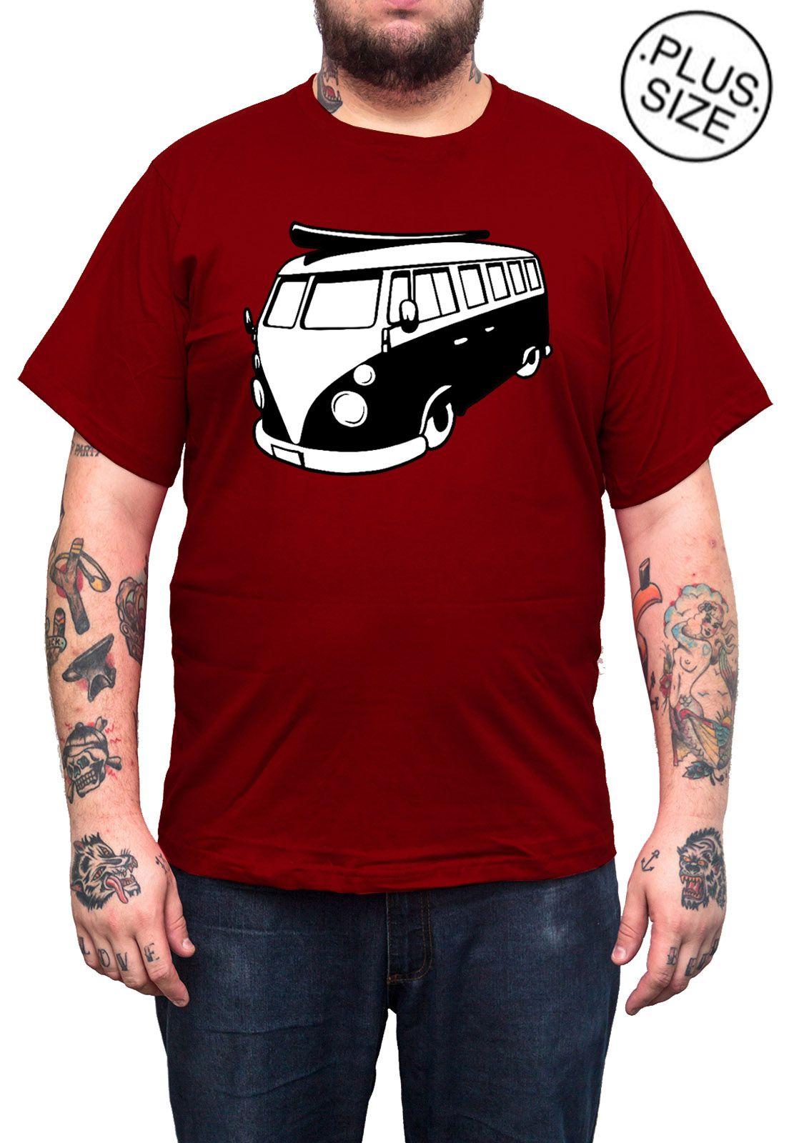 Camiseta Hshop Kombi - Vinho - Plus Size - Tamanho Grande XG  - HShop