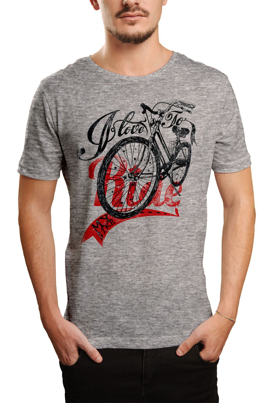 Camiseta HShop Love My Bike - Cinza Mescla  - HShop
