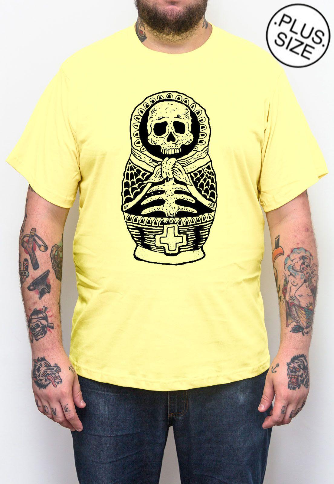 Camiseta Hshop Múmia Matrioska - Amarelo Bebê - Plus Size - Tamanho Grande XG  - HShop