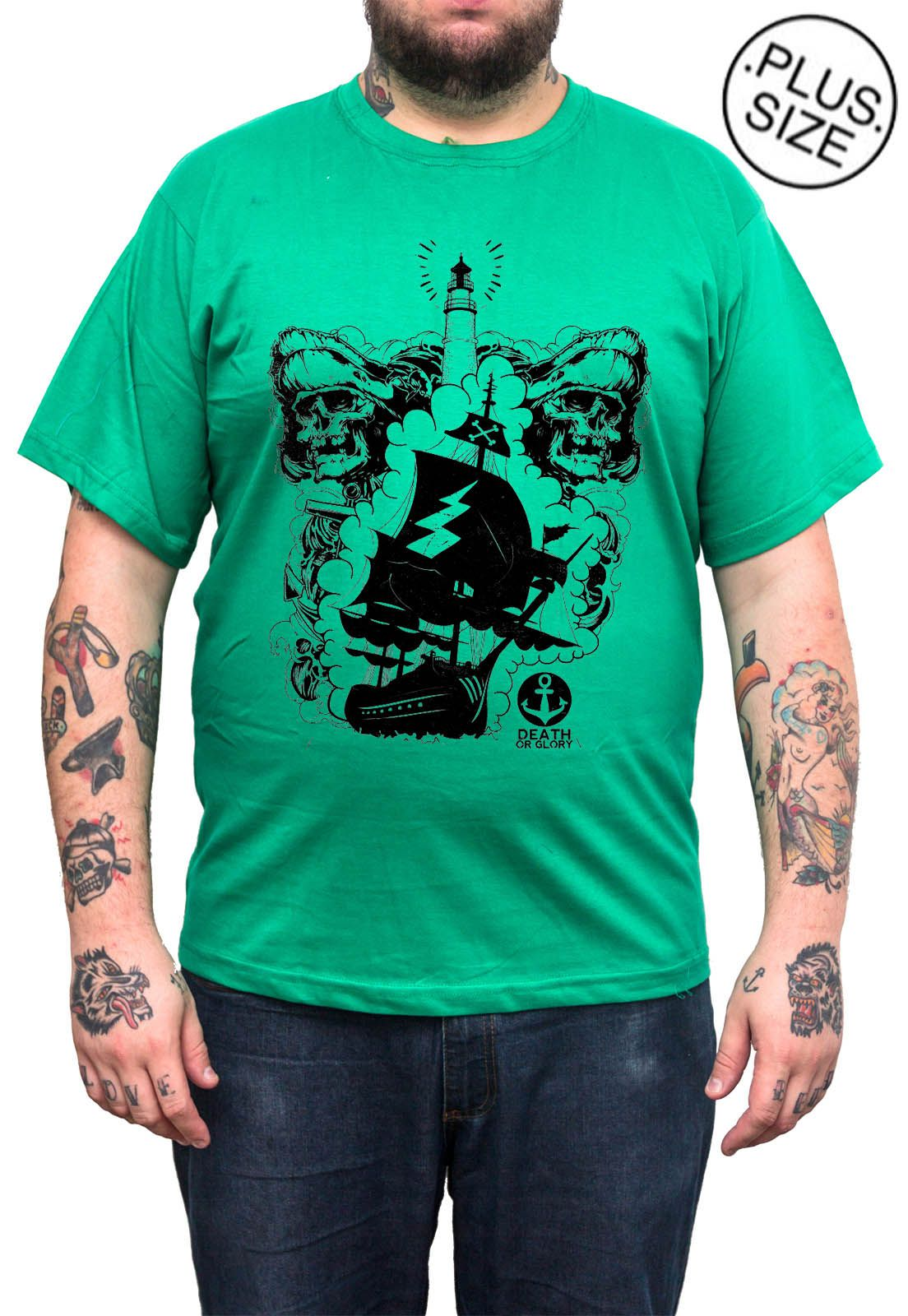 Camiseta Hshop Pirata - Verde Bandeira - Plus Size - Tamanho Grande XG  - HShop
