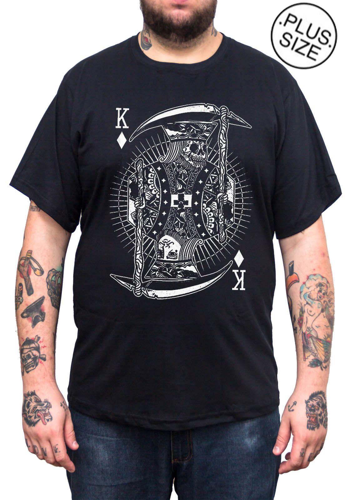 Camiseta Hshop Rei Caveira - Preto - Plus Size - Tamanho Grande XG  - HShop