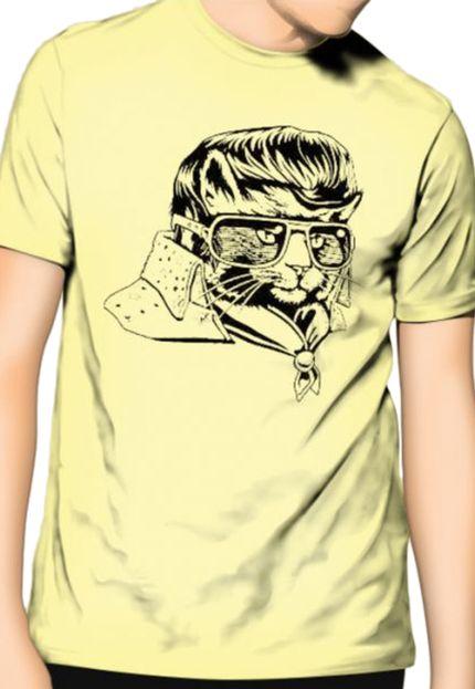 Camiseta HShop Rockstar Cat Amarelo  - HShop