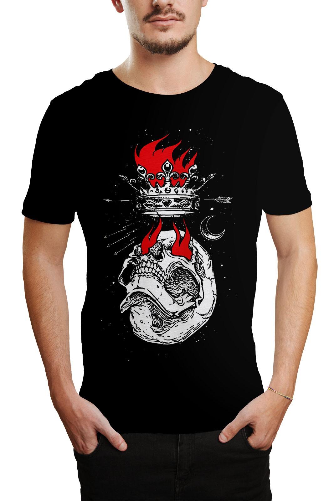 Camiseta HShop Skull Flame Preta  - HShop