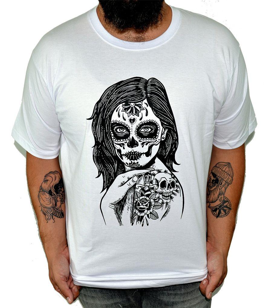 Camiseta HShop Skull Girl Branco  - HShop