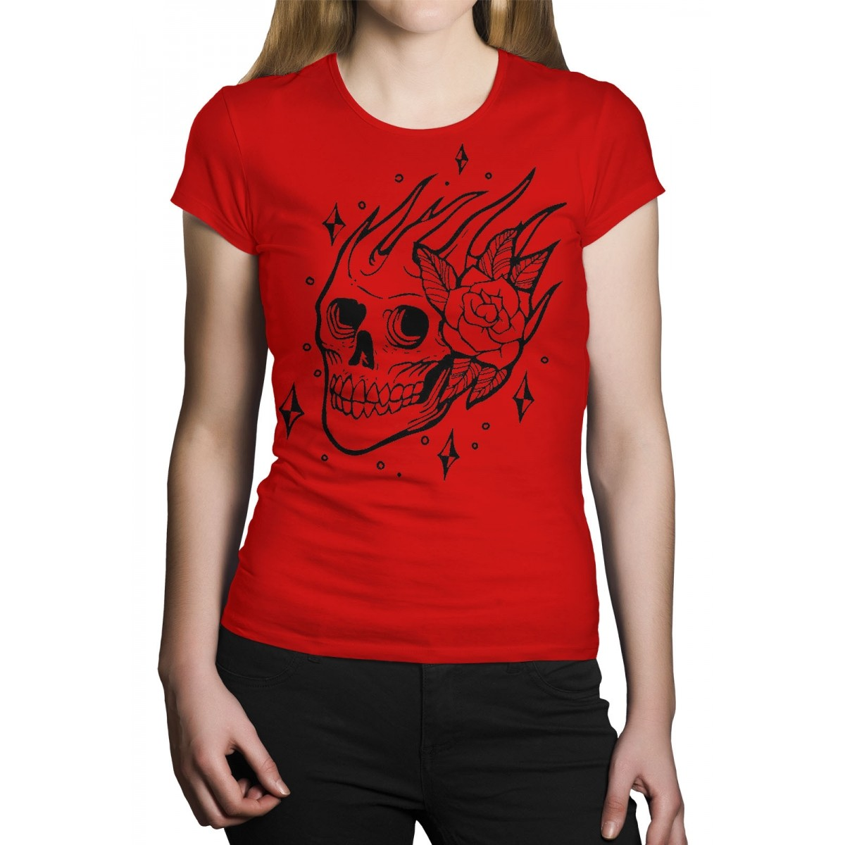 Camiseta HShop Skull Rose - Vermelha  - HShop