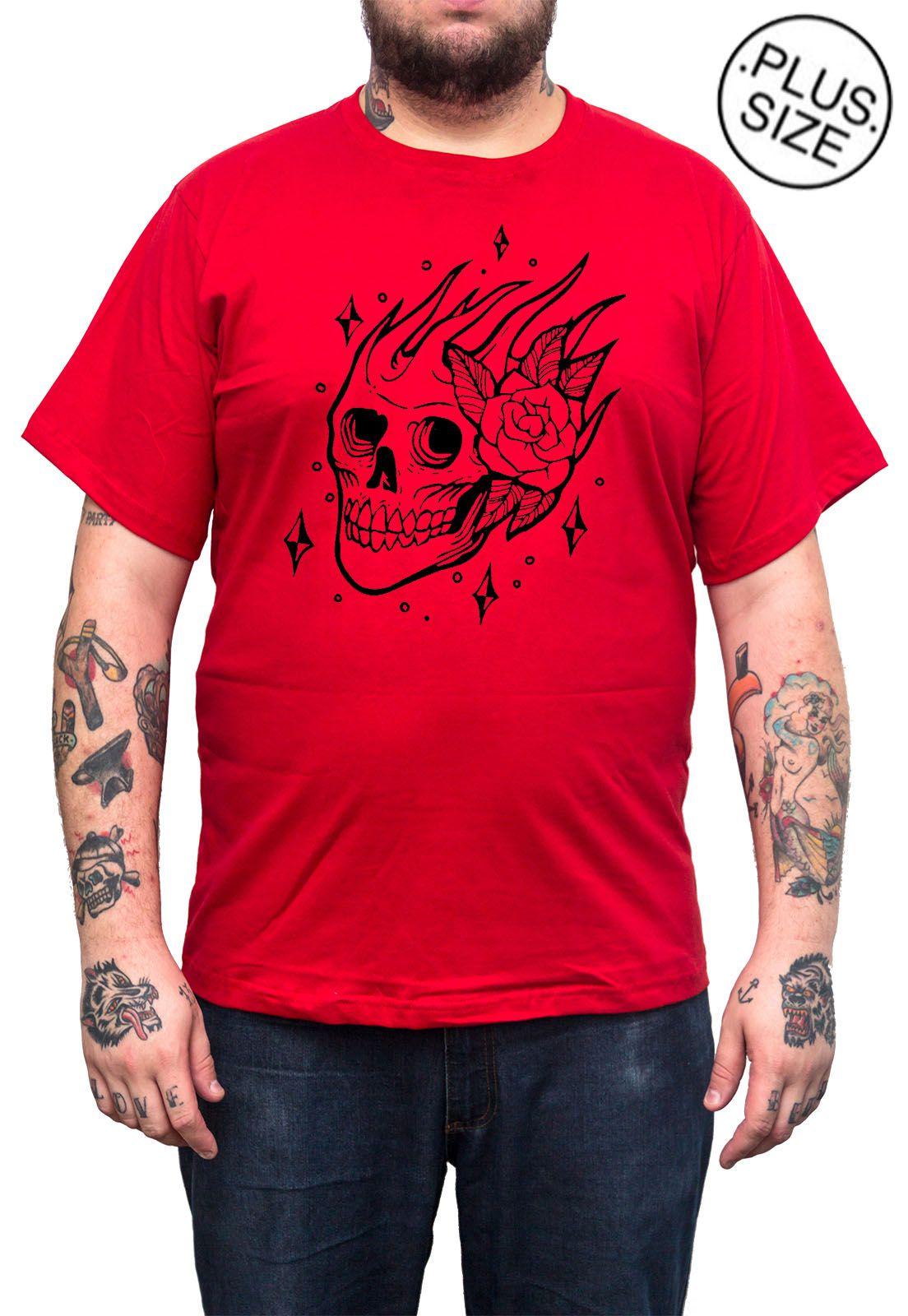 Camiseta Hshop Skull Rose - Vermelho - Plus Size - Tamanho Grande XG  - HShop