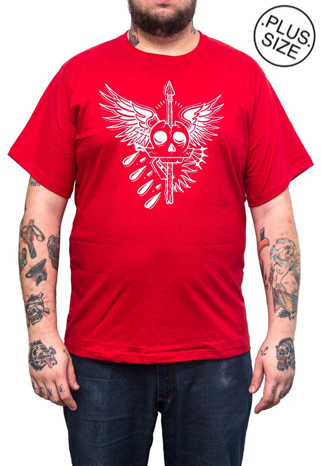 Camiseta Hshop Skull - Vermelho - Plus Size - Tamanho Grande XG  - HShop