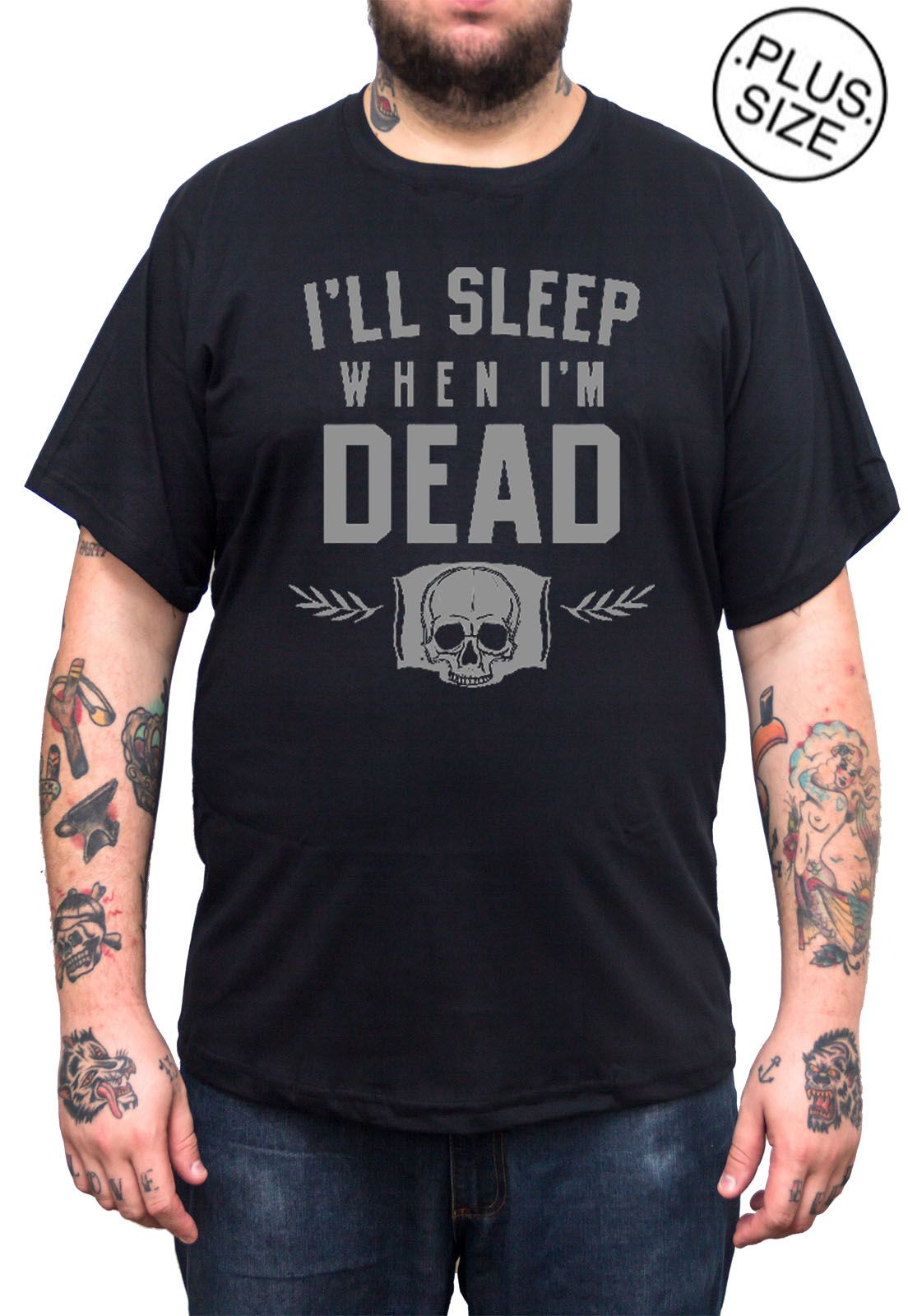 Camiseta Hshop Sleep When Dead - Preto - Plus Size - Tamanho Grande XG  - HShop