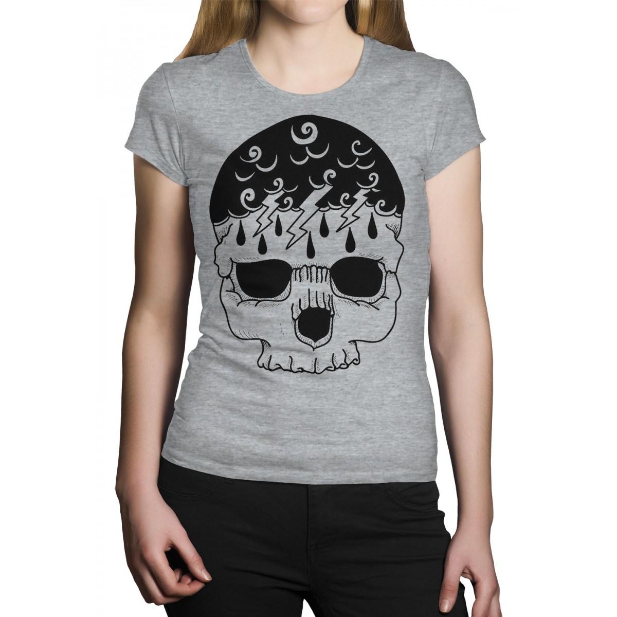 Camiseta HShop Storm Skull Cinza Mescla  - HShop