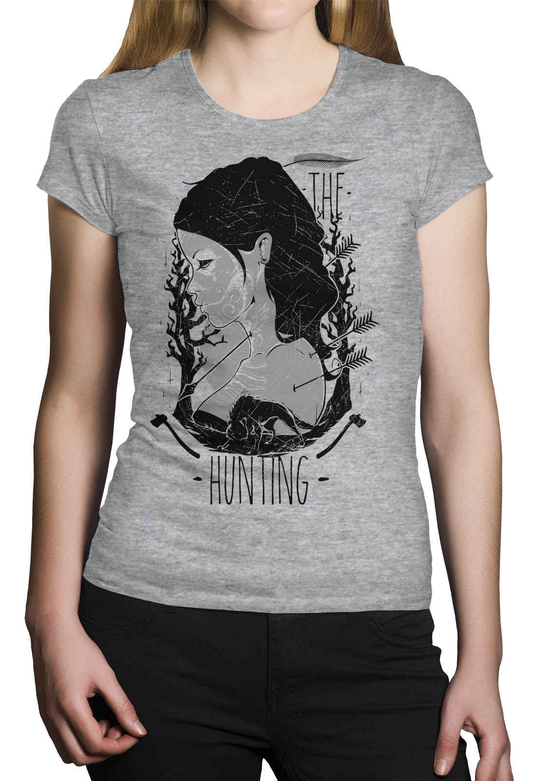 Camiseta HShop The Hunt Cinza Mescla  - HShop
