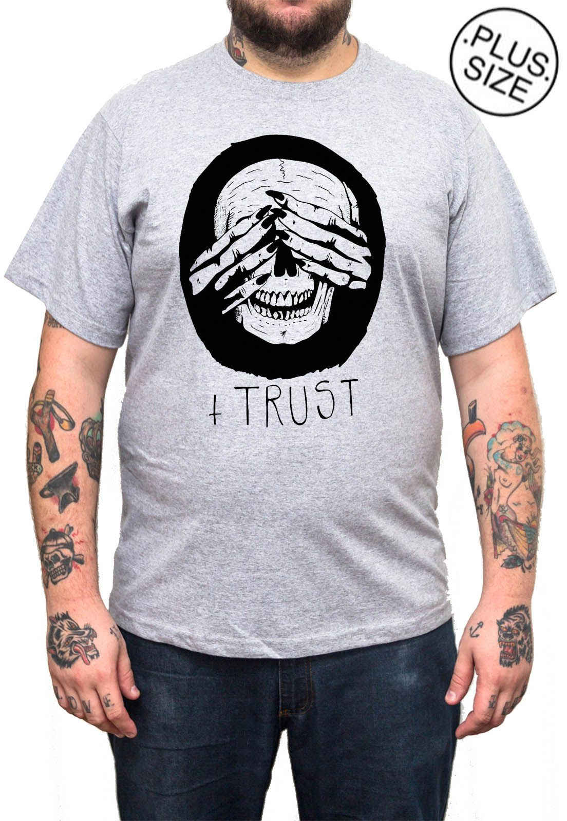 Camiseta Hshop Trust Me - Cinza Mescla - Plus Size - Tamanho Grande XG  - HShop