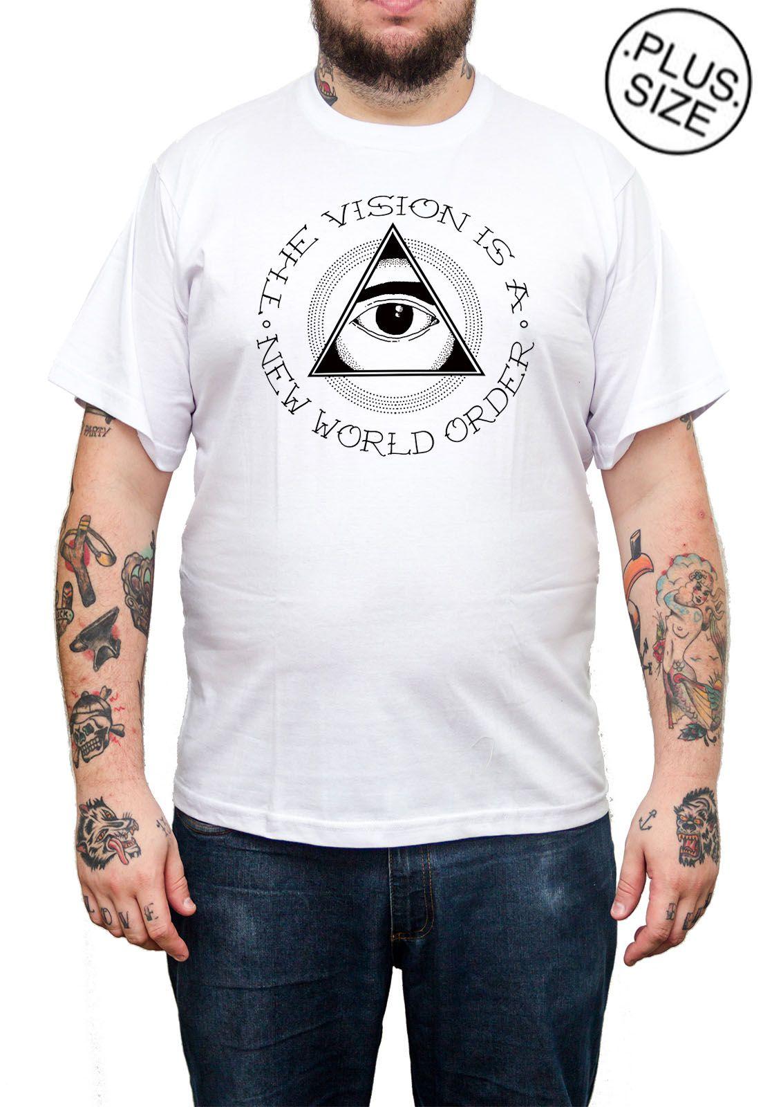 Camiseta Hshop Vision - Branco - Plus Size - Tamanho Grande XG  - HShop