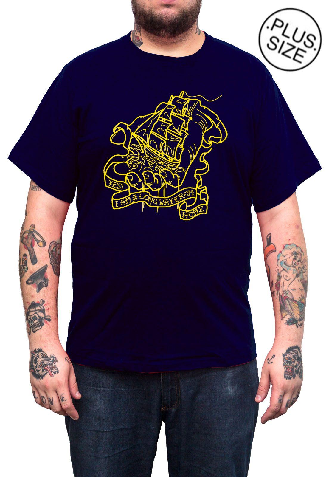 Camiseta Hshop Way From Home - Azul Marinho - Plus Size - Tamanho Grande XG  - HShop
