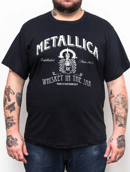 Camiseta Metallica - Whiskey - Plus Size - Tamanho Grande Xg  - HShop