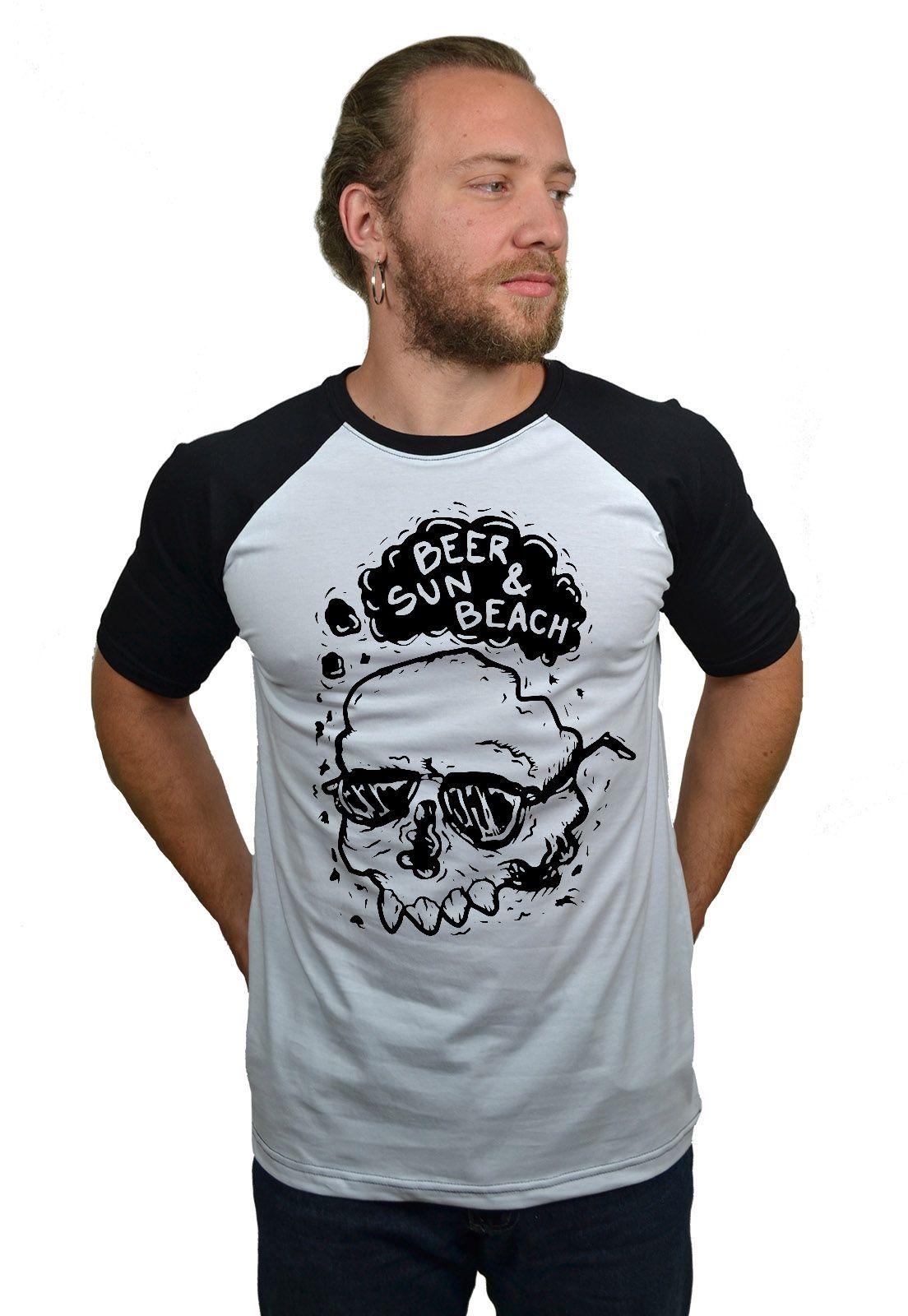 Camiseta Raglan Hshop Beer Sun - Branco com Preto  - HShop