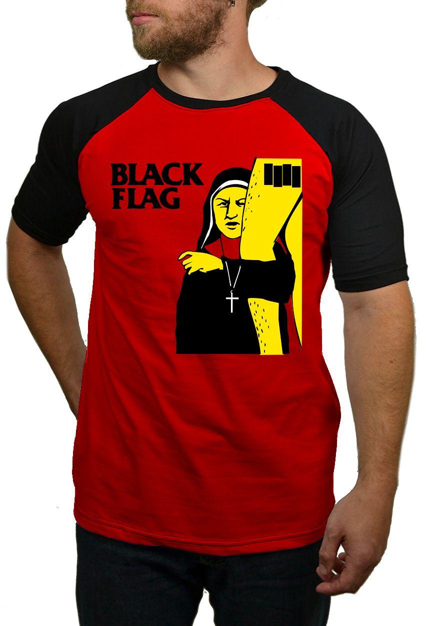 Camiseta Raglan Black Flag Freira  - HShop