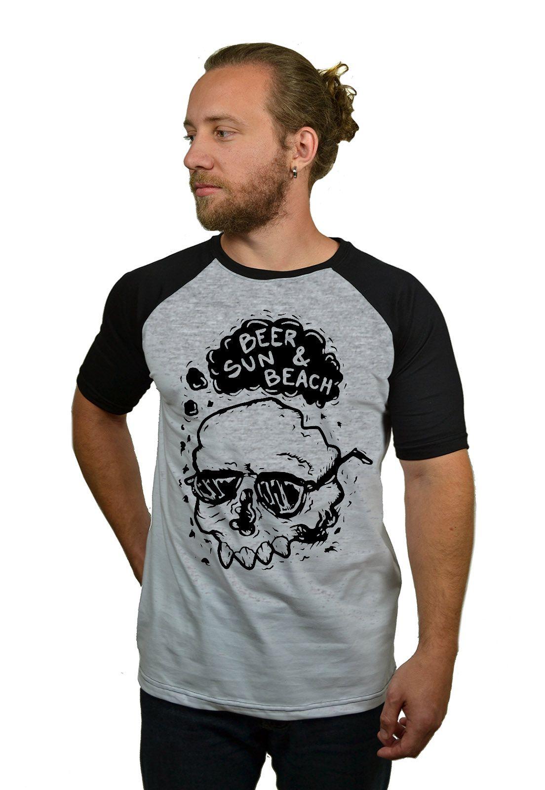 Camiseta Raglan Hshop Beer Sun - Cinza Mescla com Preto  - HShop