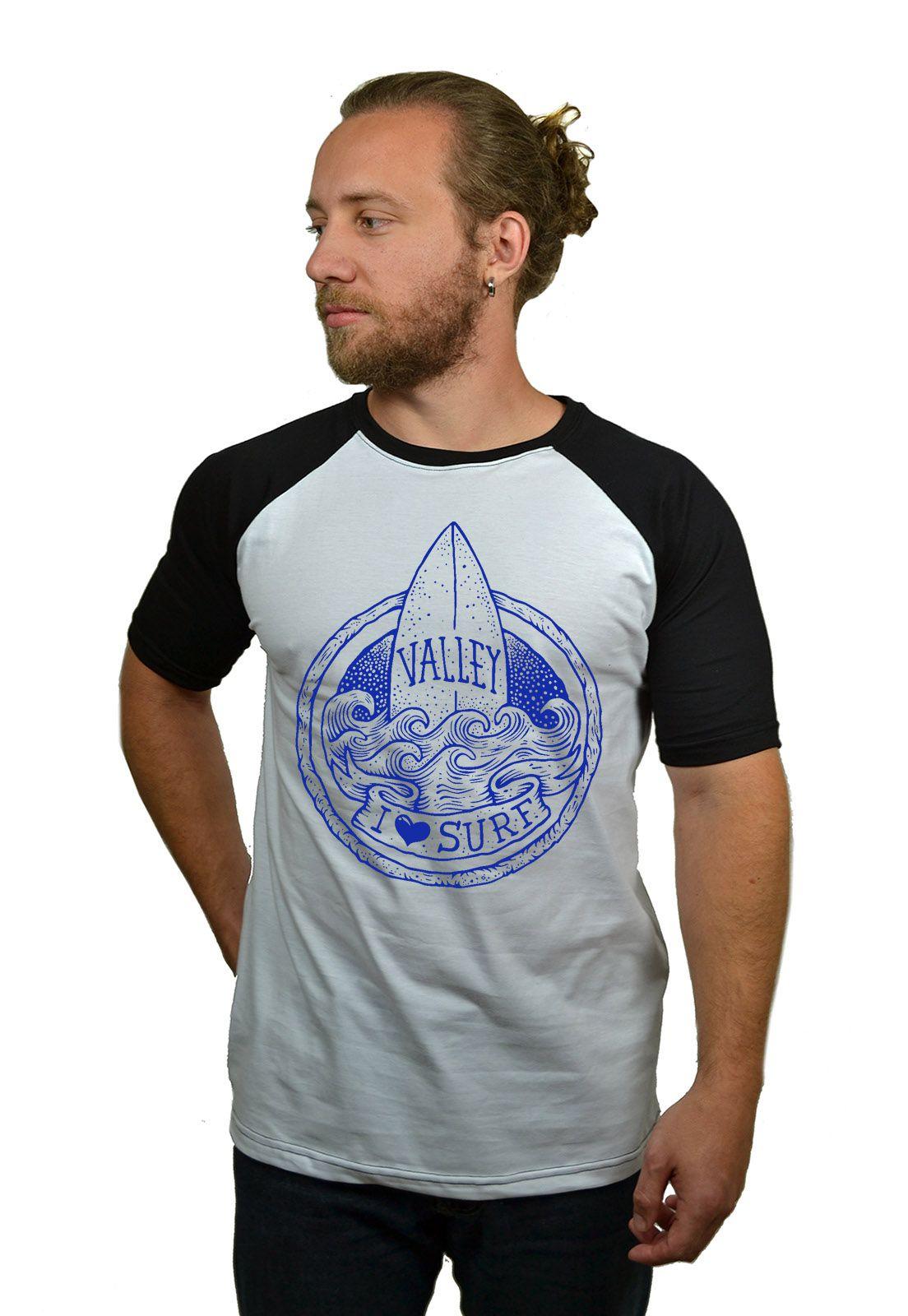 Camiseta Raglan Hshop Love Surf - Branco com Preto  - HShop