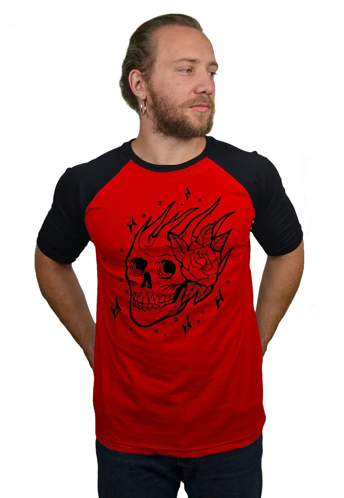 Camiseta Raglan Hshop Skull Rose - Vermelho com Preto  - HShop