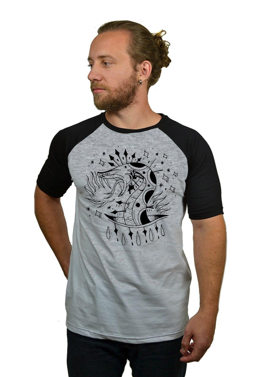 Camiseta Raglan Hshop Snake - Cinza Mescla com Preto  - HShop