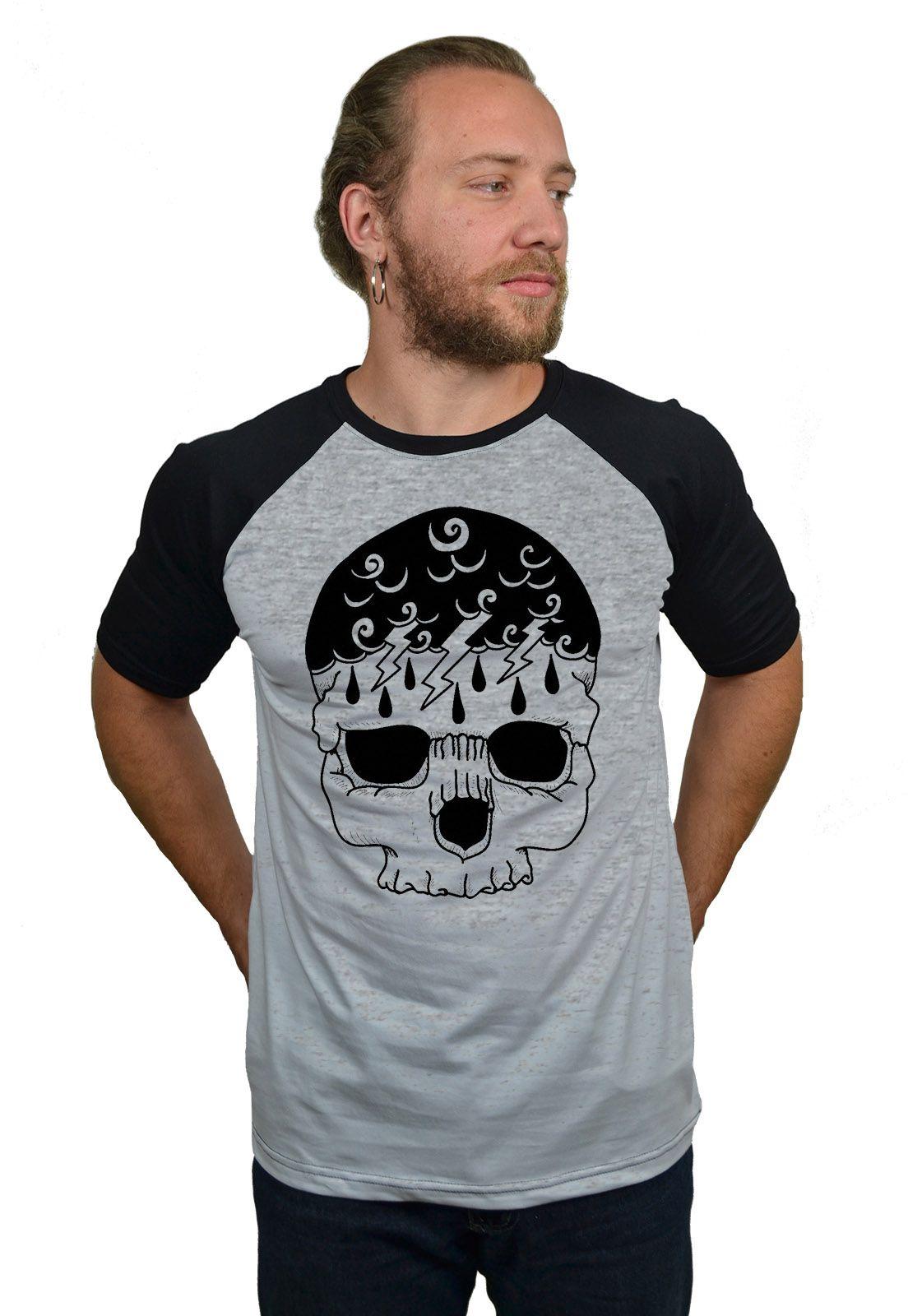 Camiseta Raglan Hshop Storm Skull - Cinza Mescla com Preto  - HShop