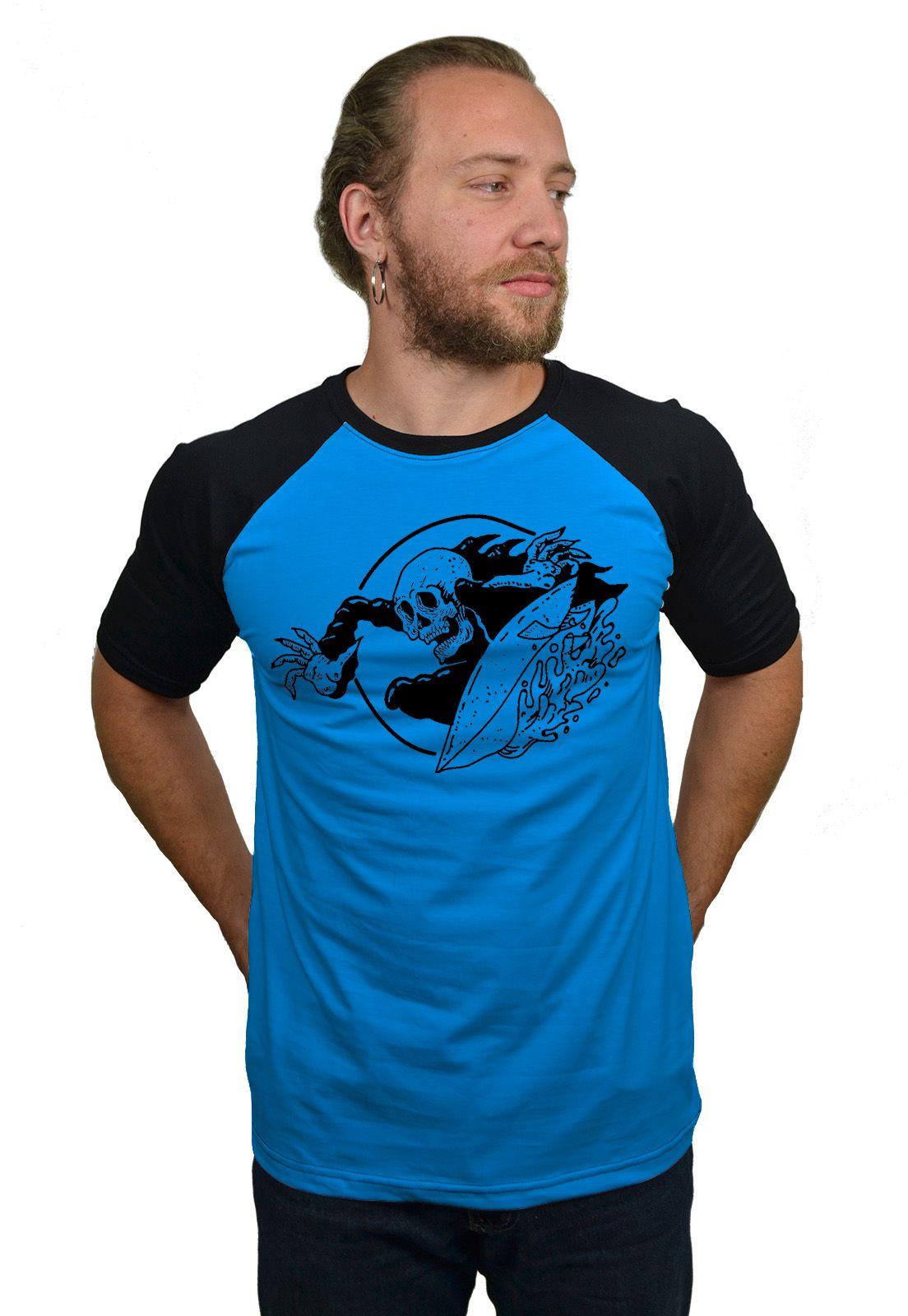 Camiseta Raglan Hshop Surfin - Azul Turquesa com Preto  - HShop