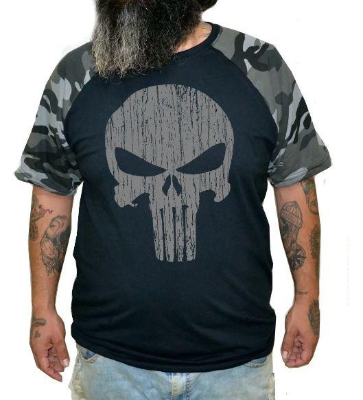 Camiseta Raglan Justiceiro - Plus Size - Tamanho XG  - HShop