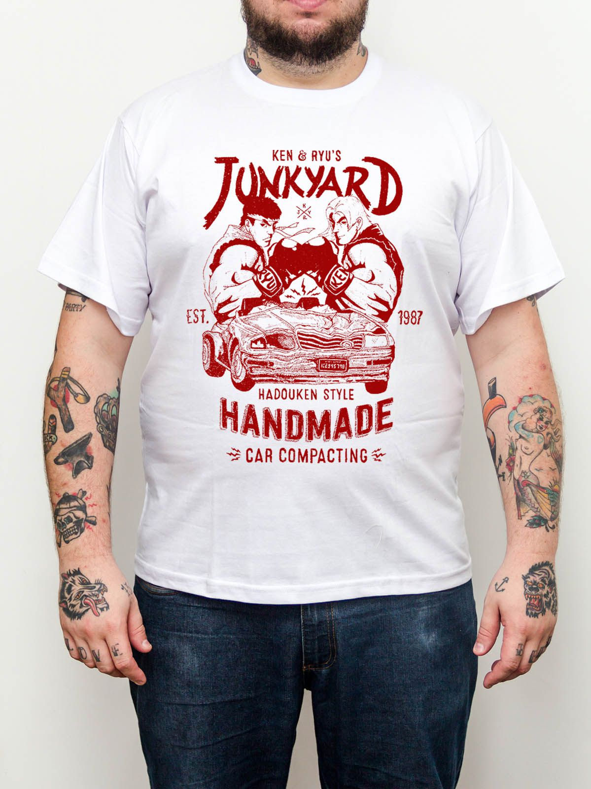 Camiseta Street Fighter - Geek - Plus Size - Tamanho Grande - Branca  - HShop