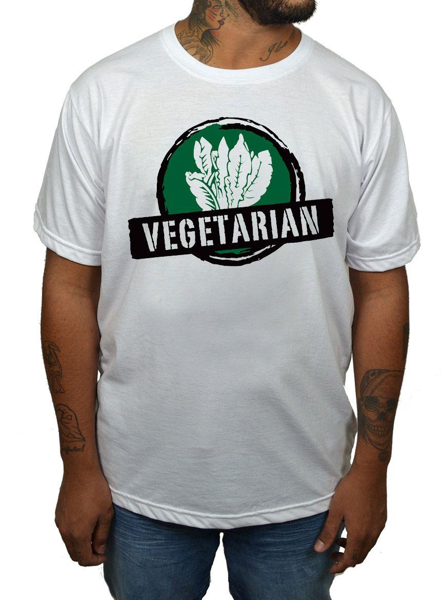 Camiseta Vegetarian - Branco - Alface  - HShop